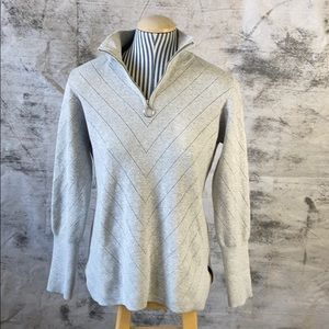 Rachel Zoe grey polo zip sweater with puff sleeves